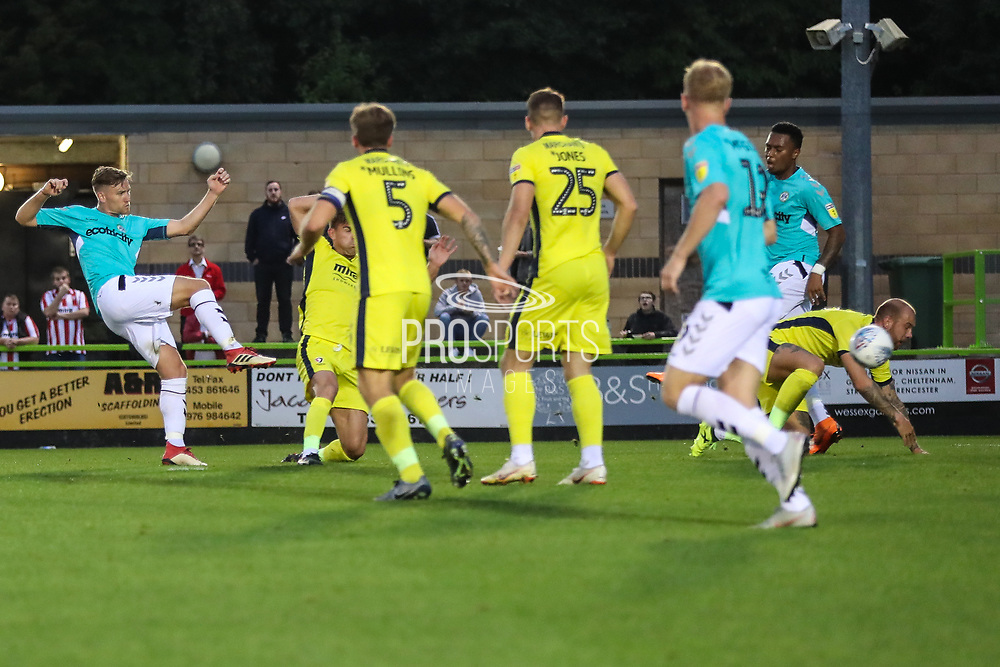 Forest Green Rovers Dayle Grubb(8) shoots at goal scores a goal 1-0 during the EFL Trophy match between Forest Green Rovers and Cheltenham Town at the New Lawn, Forest Green, United Kingdom on 4 September 2018.