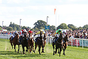 EEH BAH GUM (8) ridden by Jamie Gormley and trained by Tim Easterby wins the RICHEST APPRENTICE RACE in the country by winning The Sky Bet Apprentice Handicap Stakes over 5f (£70,000)  during the Sky Bet Ebor event at York Racecourse, York, United Kingdom on 25 August 2018. Picture by Mick Atkins.