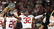 Alabama linebacker Rashaan Evans (32) celebrates after the College Football Playoff National Championship game, Jan. 8, 2018 at Mercedes-Benz Stadium in Atlanta. Alabama defeated Georgia in overtime 26-23. [Staff Photo/Gary Cosby Jr.]