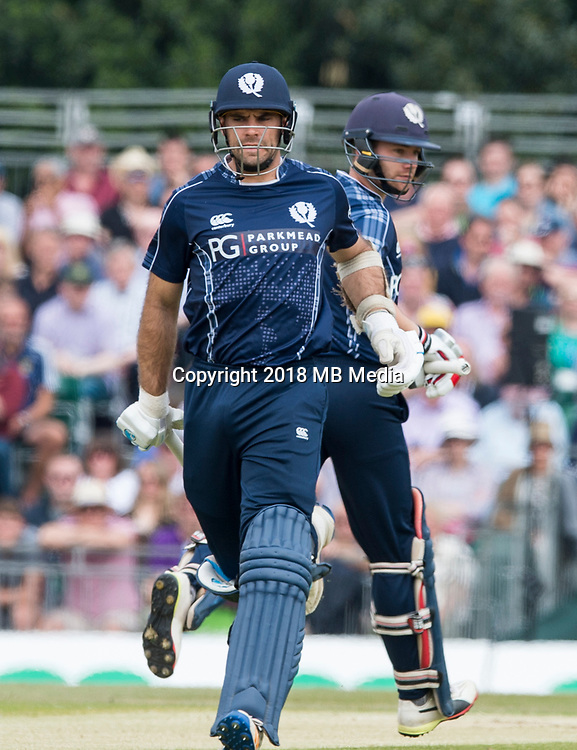 EDINBURGH, SCOTLAND - JUNE 10: Scotland opening batsmen Kyle Coetzer and Matthew Cross on their way to a fine partnership score of 107 in the first innings of their one-off ODI at the Grange Cricket Club on June 10, 2018 in Edinburgh, Scotland. (Photo by MB Media/Getty Images)