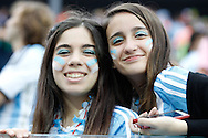 Argentina fans before the 2014 FIFA World Cup match at Arena Corinthians, Sao Paulo<br /> Picture by Andrew Tobin/Focus Images Ltd +44 7710 761829<br /> 09/07/2014
