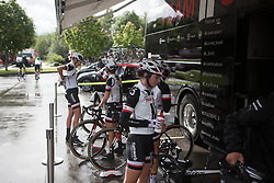 Team Sunweb riders celebrate the appearance of the sun before the start of Stage 3 of the Ladies Tour of Norway - a 156.6 km road race, between Svinesund (SE) and Halden on August 20, 2017, in Ostfold, Norway. (Photo by Balint Hamvas/Velofocus.com)