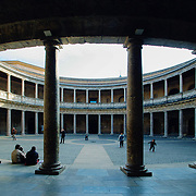 Palace Charles V column circular courtyard, Granada, Spain (December 2006)