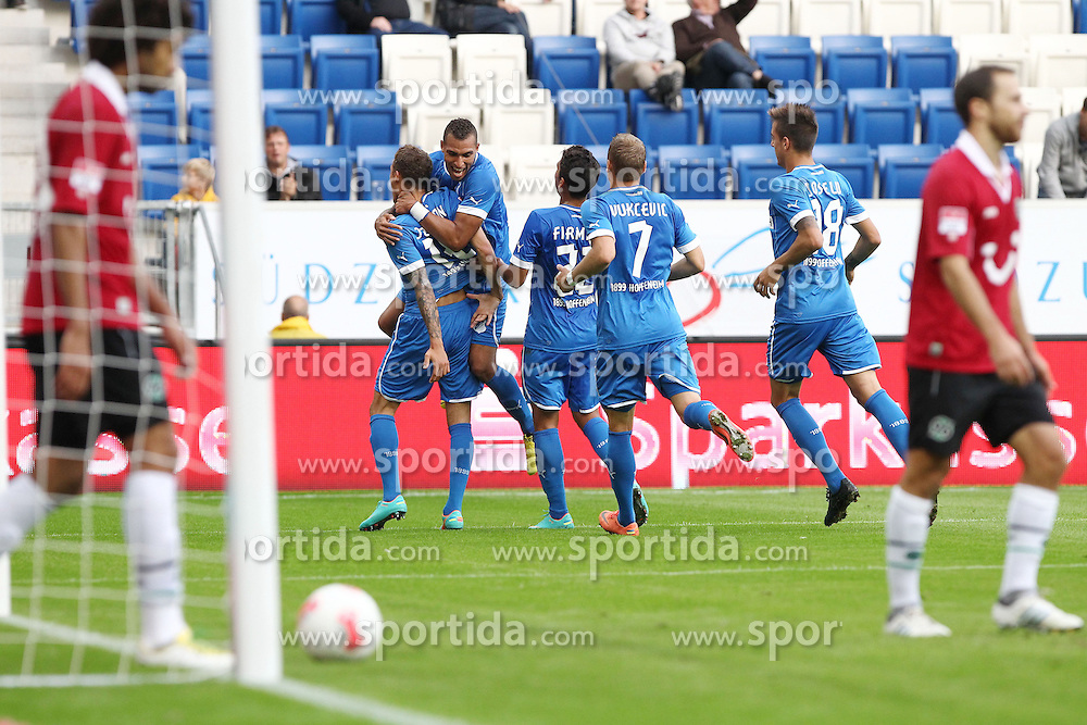 23.09.2012, Rhein Neckar Arena, Sinsheim, GER, 1. FBL, TSG 1899 Hoffenheim vs Hannover 96, 4. Runde, im Bild Bild: Hoffenheim bejubelt den Treffer von Fabian JOHNSON (TSG 1899 Hoffenheim), Torjubel/ Jubel, Emotionen // during the German Bundesliga 4th round match between TSG 1899 Hoffenheim and Hannover 96 at the Rhein Neckar Arena, Sinsheim, Germany on 2012/09/23. EXPA Pictures © 2012, PhotoCredit: EXPA/ Eibner/ Alexander Neis..***** ATTENTION - OUT OF GER *****