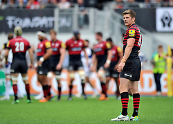 Saracens fly half Owen Farrell looks on - Photo mandatory by-line: Patrick Khachfe/JMP - Tel: Mobile: 07966 386802 - 22/09/2013 - SPORT - RUGBY UNION - Allianz Park, London- Saracens v Bath Rugby - Aviva Premiership.