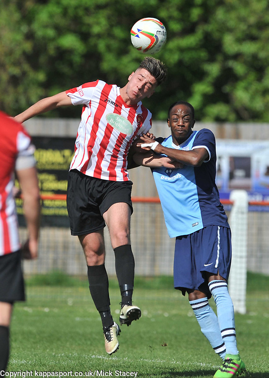 FLEET SIMBA MIAMBO  HOLDS OF KEMPSTON BEN SHEPERD, Kempston Rovers v Fleet Town, Evostick Southern League Central Saturday 15th April 2017. Score 3-1. Photo:Mike Capps