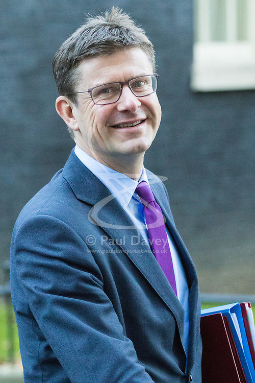 Downing Street, London, November 29th 2016. Secretary of State for Business, Energy and Industrial Strategy Greg Clark leaves 10 Downing Street following the weekly cabinet meeting.