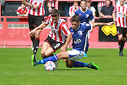 Billy Waters and Paddy Lacey during the Vanarama National League match between Cheltenham Town and Barrow at Whaddon Road, Cheltenham, England on 22 August 2015. Photo by Antony Thompson.