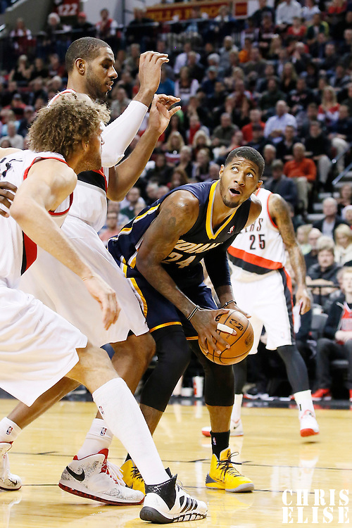 02 December 2013: Indiana Pacers small forward Paul George (24) eyes the basket  during the Portland Trail Blazers 106-102 victory over the Indiana Pacers at the Moda Center, Portland, Oregon, USA.