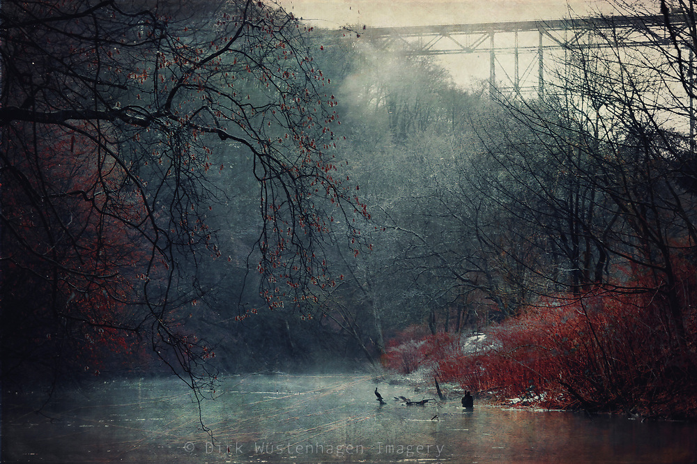 River Wupper near Wuppertal on a misty Winter morning - texturized photograph