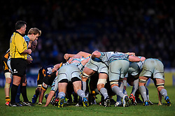 A Leicester scrum during the second half of the match - Photo mandatory by-line: Rogan Thomson/JMP - Tel: Mobile: 07966 386802 25/11/2012 - SPORT - RUGBY - Adams Park - High Wycombe. London Wasps v Leicester Tigers - Aviva Premiership.