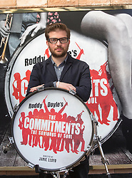 Roddy Doyle's The Commitments on stage for the first time at the Palace theatre, Shaftesbury Avenue. Author Roddy Doyle plays trumpet as (In the picture) Director Jamie Lloyd plays the drums, London, UK, Tuesday, 23rd April 2013. Photo by: Gavin Rodgers / i-Images