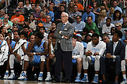 January 19, 2019: Head coach Roy Williams of North Carolina in action during the NCAA basketball game between the Miami Hurricanes and the North Carolina Tar Heels in Coral Gables, Florida. The Tar Heels defeated the 'Canes 85-76.
