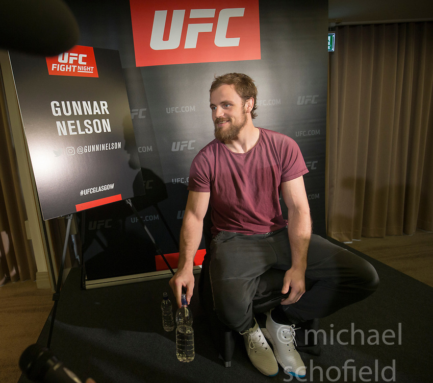 Gunnar Nelson  - No.8 welterweight contender. UFC FIGHT NIGHT: ULTIMATE MEDIA DAY, Castle, Crowne Plaza Glasgow,