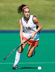 Virginia Cavaliers midfielder Rachel Jennings (14) in action against UMD.  The #1 ranked Maryland Terrapins defeated the #10 ranked Virginia Cavaliers 4-3 in overtime in NCAA Field Hockey at the Turf Field on the Grounds of the University of Virginia in Charlottesville, VA on October 4, 2008.