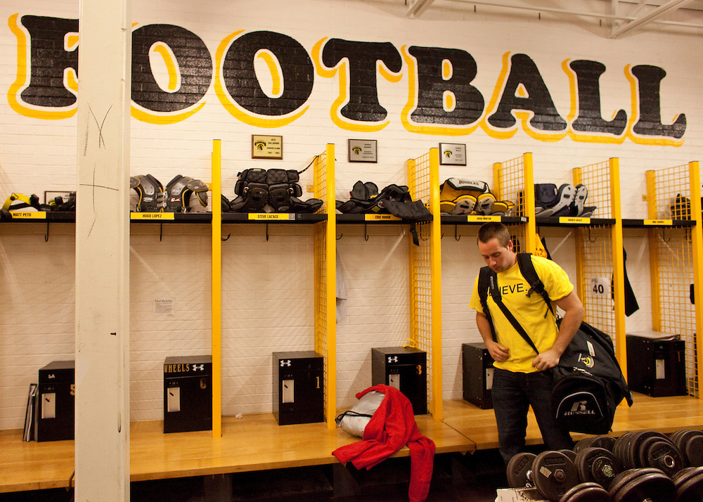 Waterloo, ONT.: June 17, 2010 --  Waterloo Warrior football player Brad Morton packs his bag in the football locker room following a news conference held by the players responding to the decision by the University of Waterloo to suspend the team for the 2010 season following positive drug tests by 9 players.<br /> (GEOFF ROBINS for National Post)