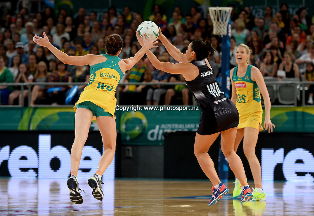 Grace Rasmussen / Silverferns<br /> Australian Diamonds vs New Zealand Silverferns<br /> Constellation Cup 2015 / Game 3<br /> International Netball series 2015<br /> Hisense Arena Melbourne Victoria<br /> Sunday 25 Octoberl 2015<br /> &copy; Sport the library / Jeff Crow