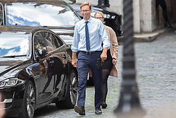 © Licensed to London News Pictures. 05/09/2019. London, UK. MP for Bournemouth East Tobias Ellwood (l) walks in Parliament . Later Today Prime Minister Boris Johnson will travel to Yorkshire to make a speech. Photo credit: George Cracknell Wright/LNP