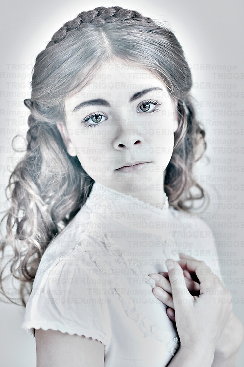 Close up of female youth wearing lace dress