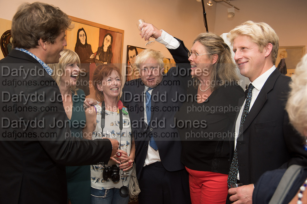 LEO JOHNSON; RACHEL JOHNSON; BORIS JOHNSON; JO JOHNSON, Exhibition opening of paintings by Charlotte Johnson Wahl. Mall Galleries. London, 7 September 2015.