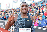 Christian Coleman (USA) poses after winning the 100m in 9.85 during the 54th  Bislett Games in an IAAF Diamond League meet in Oslo, Norway, Thursday, June 13, 2019. (Jiro Mochizuki/Image of Sport)