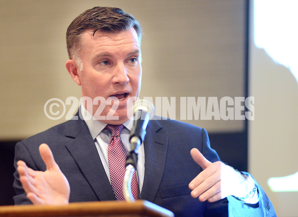 Pennsylvania Turnpike CEO Mark Compton addresses the Lower Bucks Chamber of Commerce about the PA Turnpike/I-95 Link construction and of cashless tolls Thursday December 10, 2015 at the Sheraton Bucks County in Langhorne, Pennsylvania. (Photo by William Thomas Cain)