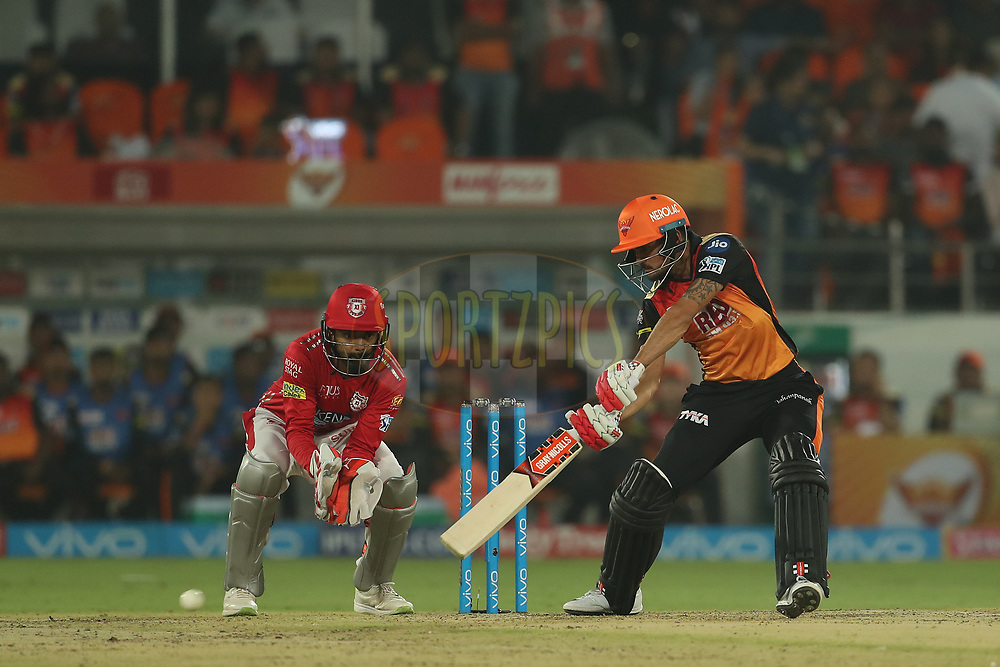 Manish Pandey of the Sunrisers Hyderabad during match twenty five of the Vivo Indian Premier League 2018 (IPL 2018) between the Sunrisers Hyderabad and the Kings XI Punjab  held at the Rajiv Gandhi International Cricket Stadium in Hyderabad on the 26th April 2018.<br /> <br /> Photo by: Ron Gaunt /SPORTZPICS for BCCI