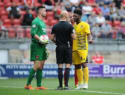 Referee , Darren Drysdale, speaks to Alex Cisak of Leyton Orient and Ellis Harrison of Bristol Rovers - Mandatory byline: Neil Brookman/JMP - 07966386802 - 29/08/2015 - FOOTBALL - Matchroom Stadium -Leyton,England - Leyton Orient v Bristol Rovers - Sky Bet League Two