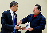 Venzuelan President Hugo Chávez (R) hands US President Barack Obama the book 'Las Venas Abiertas de América Latina' by Eduardo Galeano, during a meeting with the UNASUR Countries at the Summit of the Americas at the Hyatt Regency Hotel in Port of Spain, Trinidad & Tobago on 18 April 2009. The book's titled in English means 'The Open Veins Of Latin America'.