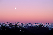 Moonrise over the Olympic Mountains at dusk, Olympic National Park, Washington