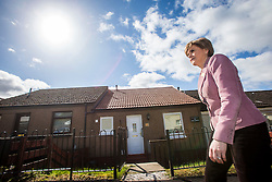 First Minister of Scotland and leader of the SNP Nicola Sturgeon, out on the election trail to make sure people are out voting today, May 7, 2015 in Glasgow, Scotland. In and around Ballieston with candidate Natalie McGarry.