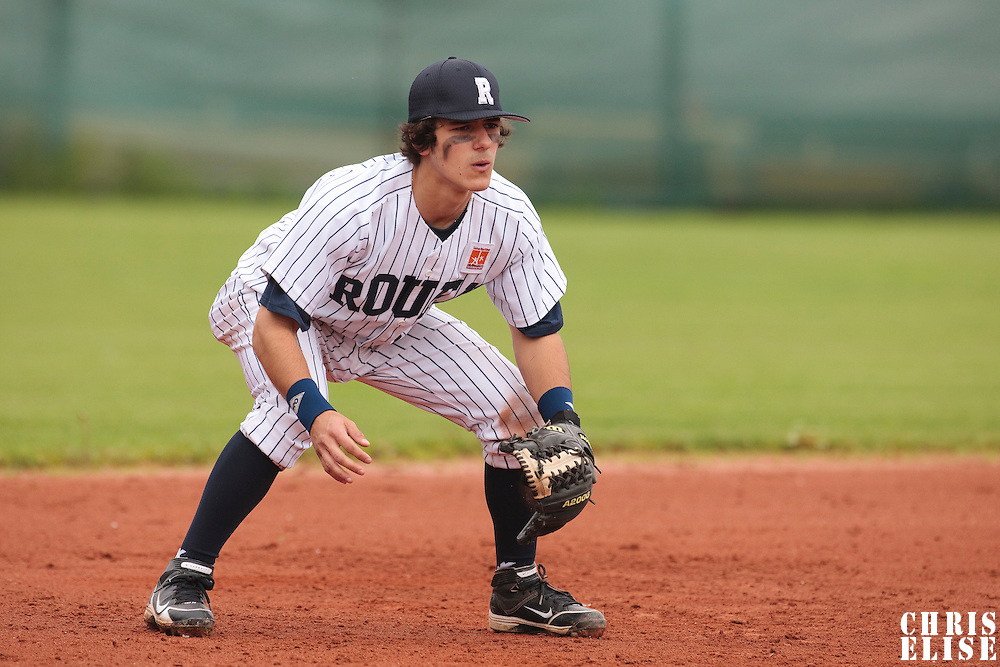 03 June 2010: Third base Maxime Lefevre of Rouen is seen on defense during the 2010 Baseball European Cup match won  8-4 by C.B. Sant Boi over the Rouen Huskies, at the Kravi Hora ballpark, in Brno, Czech Republic.