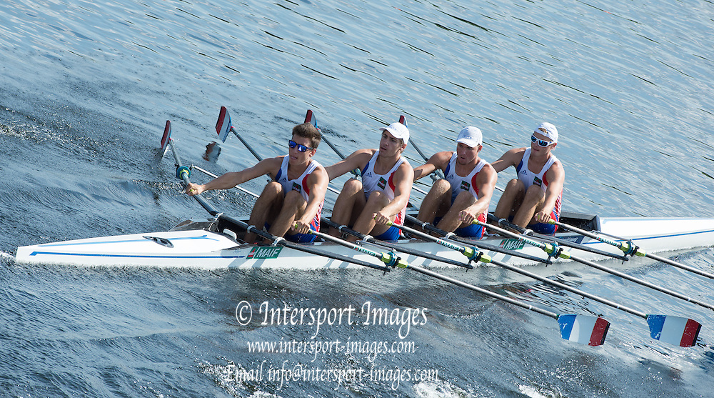 Hamburg. GERMANY.   FRA JM4X. off teh start. Friday, Morning Quarter Finals at the 2014 FISA Junior World rowing. Championships.  11:42:57  Friday  08/08/2014  [Mandatory Credit; Peter Spurrier/Intersport-images]