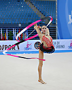 Hayakawa Sakura during qualifying at ribbon in Pesaro World Cup 27 April 2013. Sakura is a Japan rhythmic gymnastics athlete born March 17, 1997 in Osaka, Japan. She appeared in Senior competitions in the 2013 season.