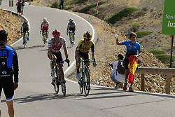 Tony Martin (GER) Team Jumbo-Visma hands over his bidon to a young fan on the final Cat 1 climb up to Observatorio Astrofisico de Javalambre during Stage 5 of La Vuelta 2019 running 170.7km from L'Eliana to Observatorio Astrofisico de Javalambre, Spain. 28th August 2019.<br /> Picture: Eoin Clarke | Cyclefile<br /> <br /> All photos usage must carry mandatory copyright credit (© Cyclefile | Eoin Clarke)