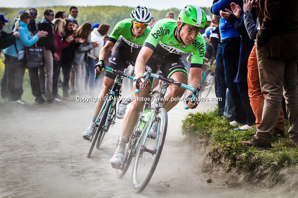 Jos van Emden (NED, BEL) and Robert Wagner (GER, BEL) on sector 8 Pont-Thibaut to Ennevelin, Paris-Roubaix, 13th April 2014, Photo by Thomas van Bracht / PelotonPhotos.com