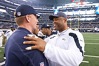06 November 2011: Linebacker coach Ken Norton, Jr., right, of the Seattle Seahawks greets head coach Jason Garret of the Dallas Cowboys after the Cowboys 23-13 victory over the Seahawks at Cowboy Stadium in Arlington, TX.