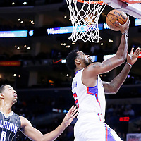 03 December 2014: Los Angeles Clippers center DeAndre Jordan (6) goes for the layup during the Los Angeles Clippers 114-86 victory over the Orlando Magic, at the Staples Center, Los Angeles, California, USA.