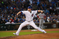 October 11, 2017 - Chicago, IL, USA - Chicago Cubs pitcher Jon Lester works in relief of starting pitcher Jake Arrieta in the fifth inning against the Washington Nationals in Game 4 of the National League Division Series at Wrigley Field in Chicago on Wednesday, Oct. 11, 2017. (Credit Image: © Brian Cassella/TNS via ZUMA Wire)
