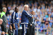 Ipswich Town manager Mick McCarthy and Chris Hughton during the Sky Bet Championship match between Ipswich Town and Brighton and Hove Albion at Portman Road, Ipswich, England on 29 August 2015.