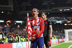May 3, 2018 - Madrid, Spain - ANTOINE GRIEZMANN of Atletico de Madrid celebrates during the UEFA Europa League, semi final, 2nd leg football match between Atletico de Madrid and Arsenal FC on May 3, 2018 at Metropolitano stadium in Madrid, Spain (Credit Image: © Manuel Blondeau via ZUMA Wire)