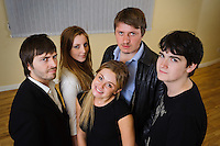 "Selected cast members of the stage play ""Stags & Hens' seen here in rehearsal. Pictured LtoR Tim Bettridge, Madison Coupland, Emily Potter, Andy Wilson, Seb Pryboda"