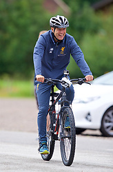 ROTTACH-EGERN, GERMANY - Friday, July 28, 2017: Liverpool's player liaison officer Ray Haughan cycles to a training session at FC Rottach-Egern on day three of the preseason training camp in Germany. (Pic by David Rawcliffe/Propaganda)