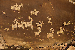 Rock panel with Ute Petroglyph drawings, Arches National Park, Utah, United States of America