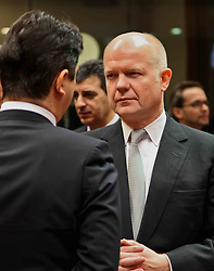 British Foreign Secretary William Hague (R) attends an EU foreign ministers meeting at EU headquarters in Brussels, capital of Belgium, on Jan. 31, 2013. The Foreign Ministers Meeting will discuss the situation in the EU s southern neighbourhood, in particular in Syria and Egypt, and will prepare the forthcoming European Council debate on the Arab Spring. , January 31, 2013. Photo by Imago / i-Images..UK ONLY
