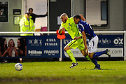 Richard Brodie (9) of York City battles for possession with Mike Green (3) of Eastleigh during the Vanarama National League match between Eastleigh and York City at Arena Stadium, Eastleigh, United Kingdom on 12 November 2016. Photo by Graham Hunt.