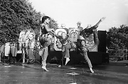 Dancers performing on stage, Ashton Court Festival, Bristol, UK, 1995.