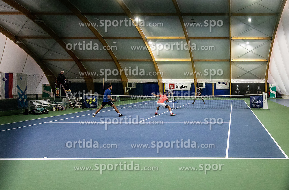 Aljaz Jakob Kaplja and Bor Muzar Schweiger playing final match against Toni Hazdovac and Sven Lah during Slovenian men's doubles tennis Championship 2019, on December 29, 2019 in Medvode, Slovenia. Photo by Vid Ponikvar/ Sportida