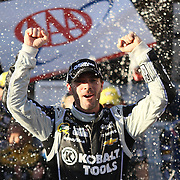 "Jimmie Johnson (48) celebrates at after winning NASCAR SPRINT CUP ""AAA 400″ auto race at Dover International Speedway in Dover, DE Sunday,  Sept  29, 2013"