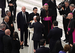 Pope Francis greets Nice's deputy mayor Christian Estrosi after he received family members of the victims of the Bastille Day terror attacks in Nice, France, renewing his condolences and promises of prayer for their healing and for the souls of their loved-ones. On 14 July 2016, a 19 tonne cargo truck was deliberately driven into crowds celebrating Bastille Day on the Promenade des Anglais in Nice, France, resulting in the death of 86 people and injuring 434. The pope denounced violence in the name of religion, at the Vatican on September 24, 2016. Photo by Eric Vandeville/ABACAPRESS.COM